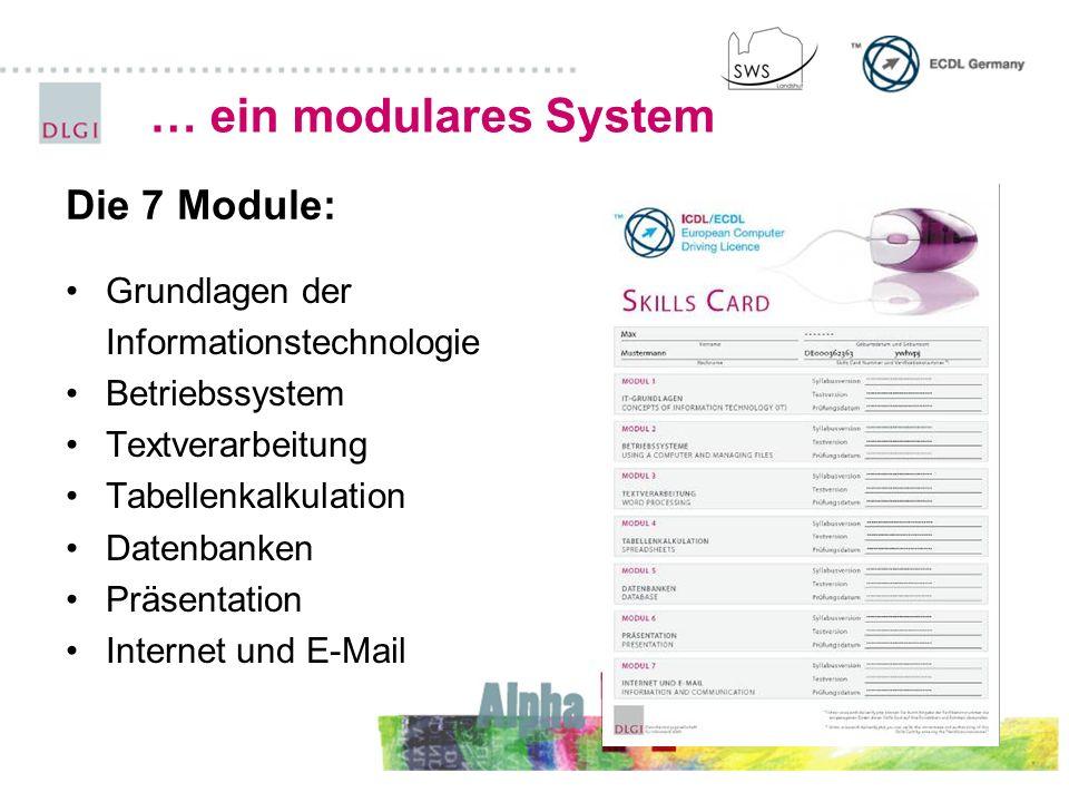 … ein modulares System Grundlagen der Informationstechnologie Betriebssystem Textverarbeitung Tabellenkalkulation Datenbanken Präsentation Internet un
