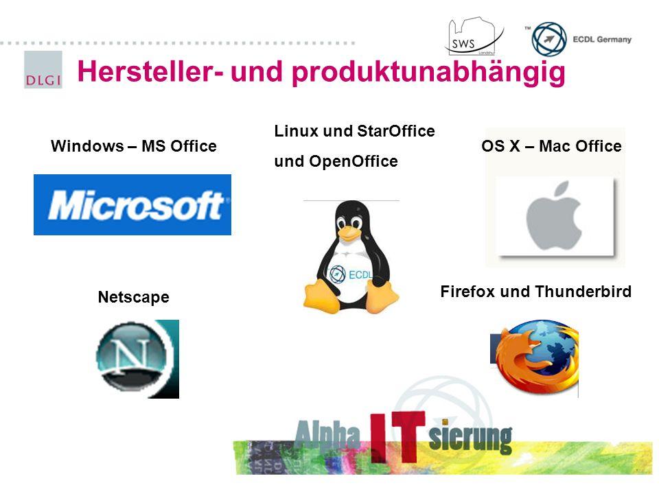 Hersteller- und produktunabhängig Windows – MS OfficeOS X – Mac Office Linux und StarOffice und OpenOffice Netscape Firefox und Thunderbird