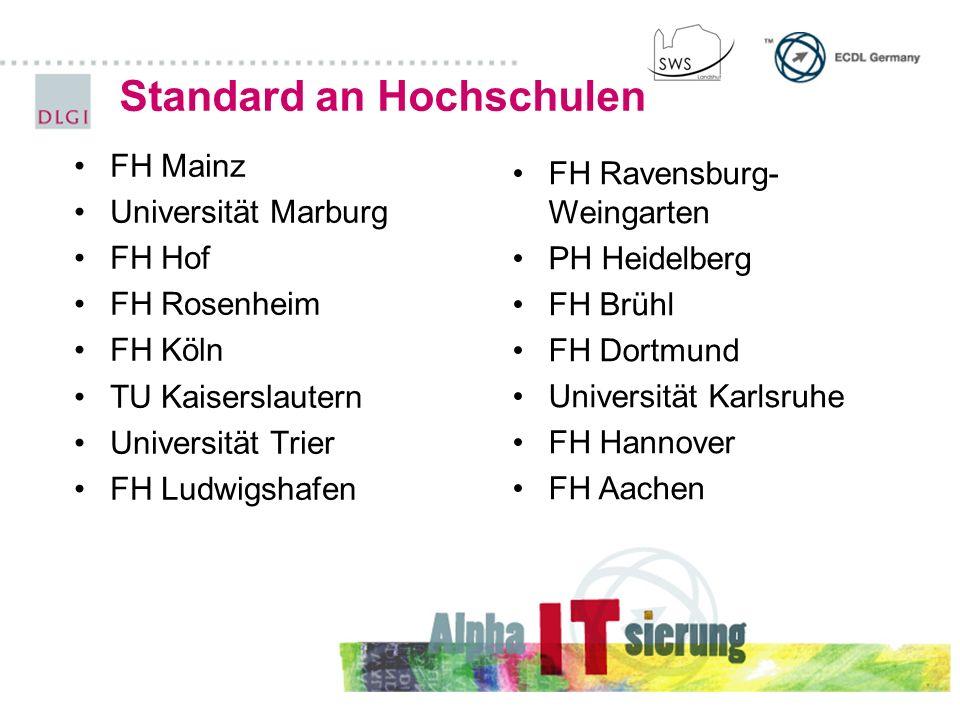 Standard an Hochschulen FH Mainz Universität Marburg FH Hof FH Rosenheim FH Köln TU Kaiserslautern Universität Trier FH Ludwigshafen FH Ravensburg- We
