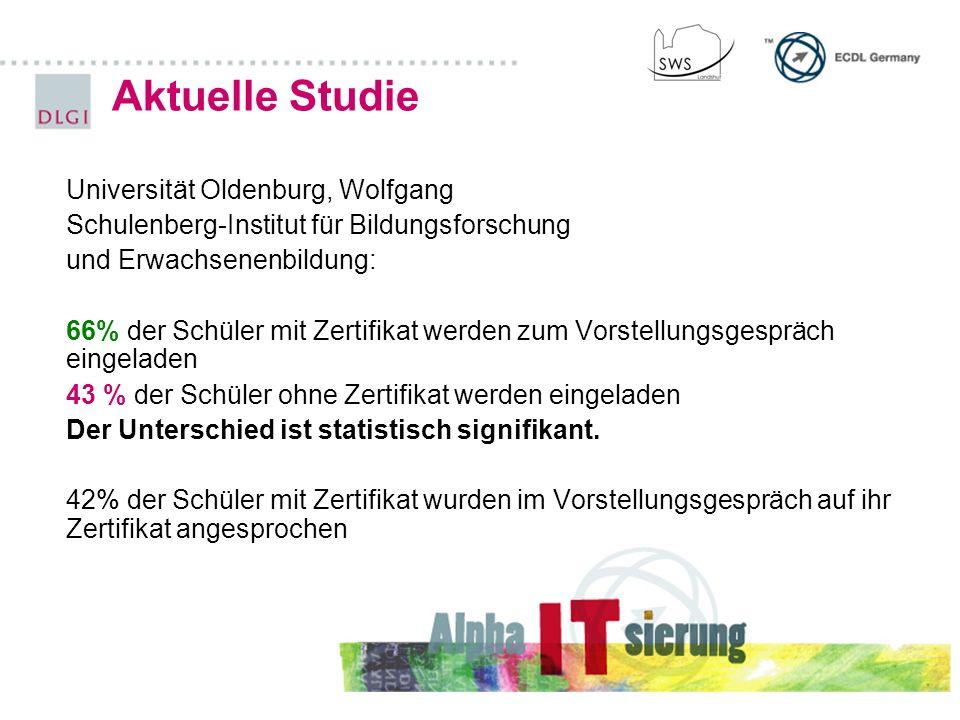 Universität Oldenburg, Wolfgang Schulenberg-Institut für Bildungsforschung und Erwachsenenbildung: 66% der Schüler mit Zertifikat werden zum Vorstellungsgespräch eingeladen 43 % der Schüler ohne Zertifikat werden eingeladen Der Unterschied ist statistisch signifikant.