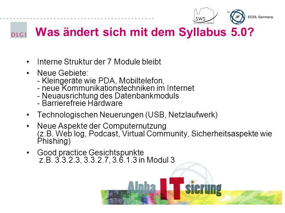 Was ändert sich mit dem Syllabus 5.0? Interne Struktur der 7 Module bleibt Neue Gebiete: - Kleingeräte wie PDA, Mobiltelefon, - neue Kommunikationstec