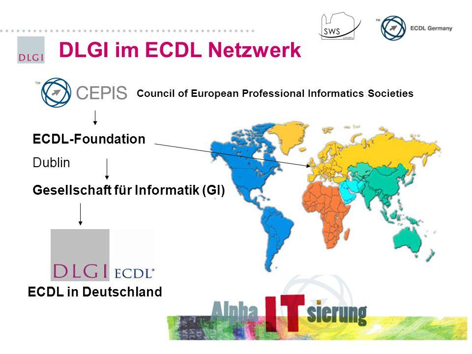 DLGI im ECDL Netzwerk Gesellschaft für Informatik (GI) ECDL-Foundation Dublin ECDL in Deutschland Council of European Professional Informatics Societi