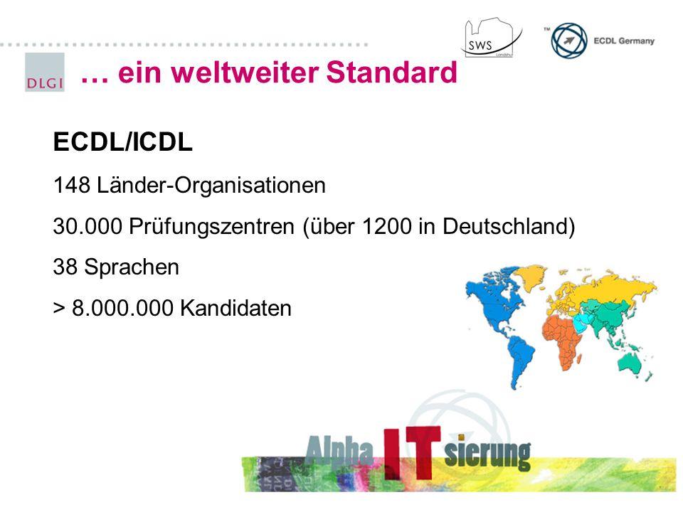 … ein weltweiter Standard ECDL/ICDL 148 Länder-Organisationen 30.000 Prüfungszentren (über 1200 in Deutschland) 38 Sprachen > 8.000.000 Kandidaten