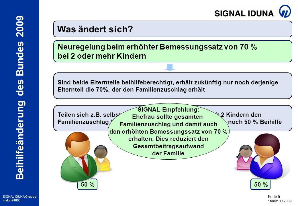 Folie 6 Stand: 03.2009 SIGNAL IDUNA Gruppe makv-91660 Beihilfeänderung des Bundes 2009 Nachweis jetzt durch jährliche Vorlage des Steuerbescheides Reduzierung der Einkommensgrenze* für Ehegatten von 18.000 EUR auf 17.000 EUR Was ändert sich.