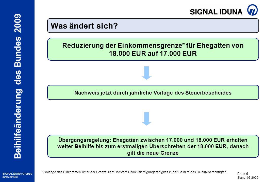 Folie 7 Stand: 03.2009 SIGNAL IDUNA Gruppe makv-91660 Beihilfeänderung des Bundes 2009 Minderung der Beihilfe um 10 EUR/Quartal je Person > 18J.