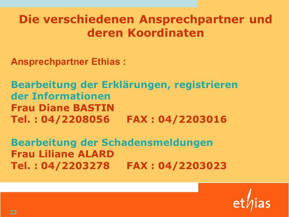 23 Ansprechpartner Ethias : Bearbeitung der Erklärungen, registrieren der Informationen Frau Diane BASTIN Tel. : 04/2208056FAX : 04/2203016 Bearbeitun
