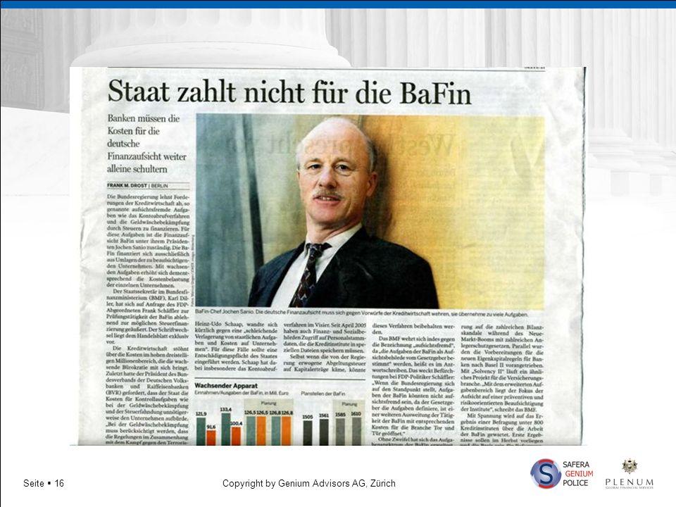 Copyright by Genium Advisors AG, ZürichSeite 16