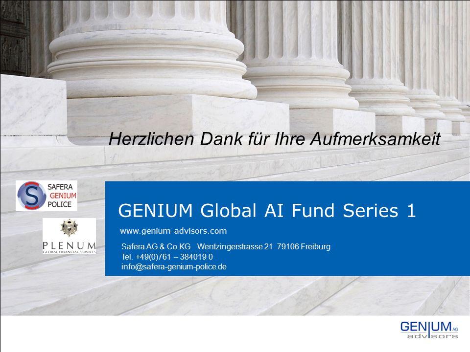 GENIUM Global AI Fund Series 1 www.genium-advisors.com Herzlichen Dank für Ihre Aufmerksamkeit Safera AG & Co.KG Wentzingerstrasse 21 79106 Freiburg T