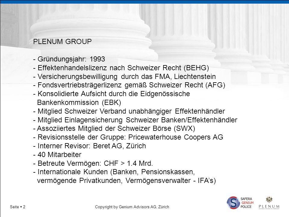 Copyright by Genium Advisors AG, ZürichSeite 2 PLENUM GROUP - Gründungsjahr: 1993 - Effektenhandelslizenz nach Schweizer Recht (BEHG) - Versicherungsb