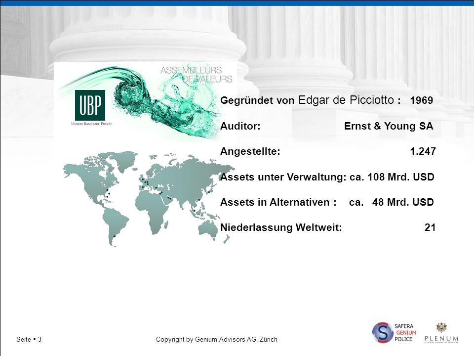Copyright by Genium Advisors AG, ZürichSeite 3 Gegründet von Edgar de Picciotto :1969 Auditor: Ernst & Young SA Angestellte: 1.247 Assets unter Verwal