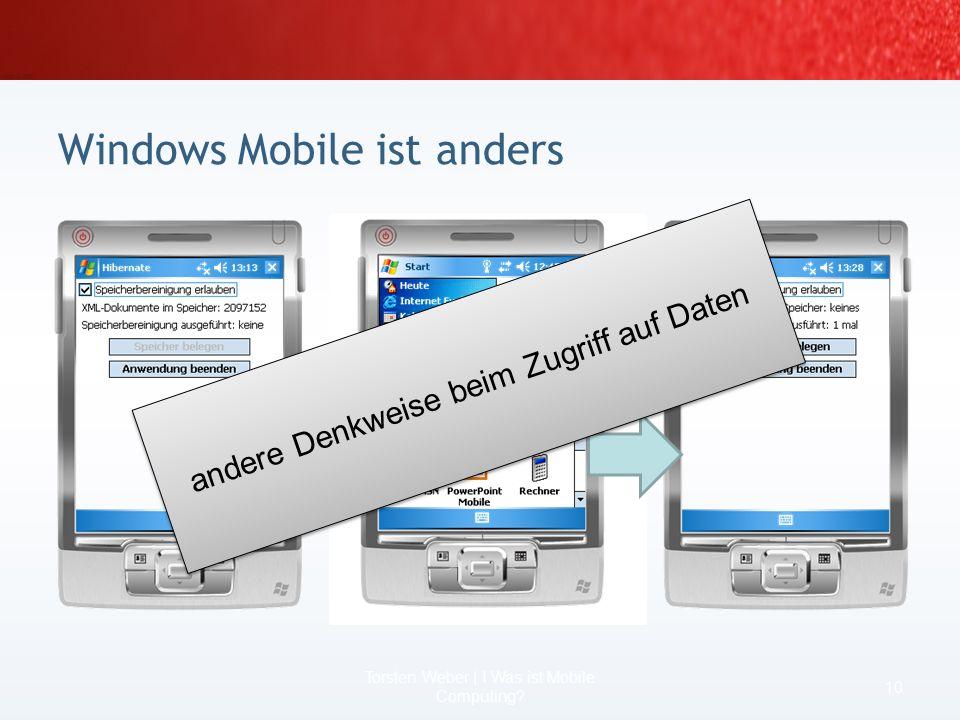 Entwicklung für mobile Geräte nicht vergleichbar mit Entwicklung für Desktops oder Server unter Windows Mobile 5 nur 32 Prozesse und nur 32 MB virtuel