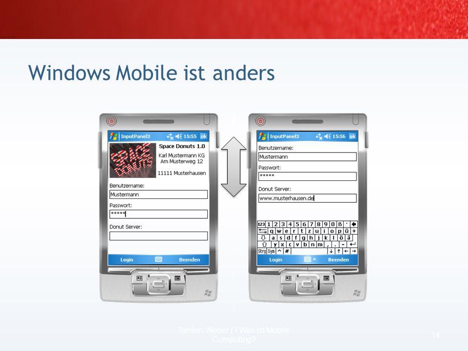 Windows Mobile ist anders 12 Torsten Weber | I Was ist Mobile Computing?