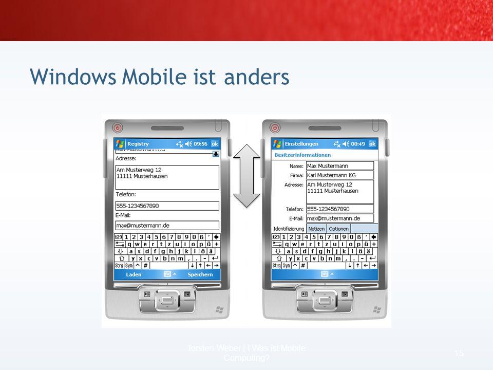Windows Mobile ist anders 13 Torsten Weber | I Was ist Mobile Computing? 192 dpi 96 dpi