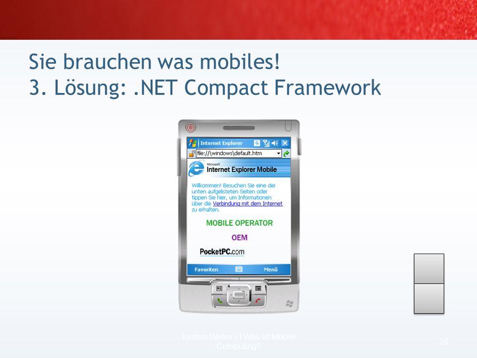 Sie brauchen was mobiles! 1. Lösung: Terminalanwendung 18 Torsten Weber | I Was ist Mobile Computing?