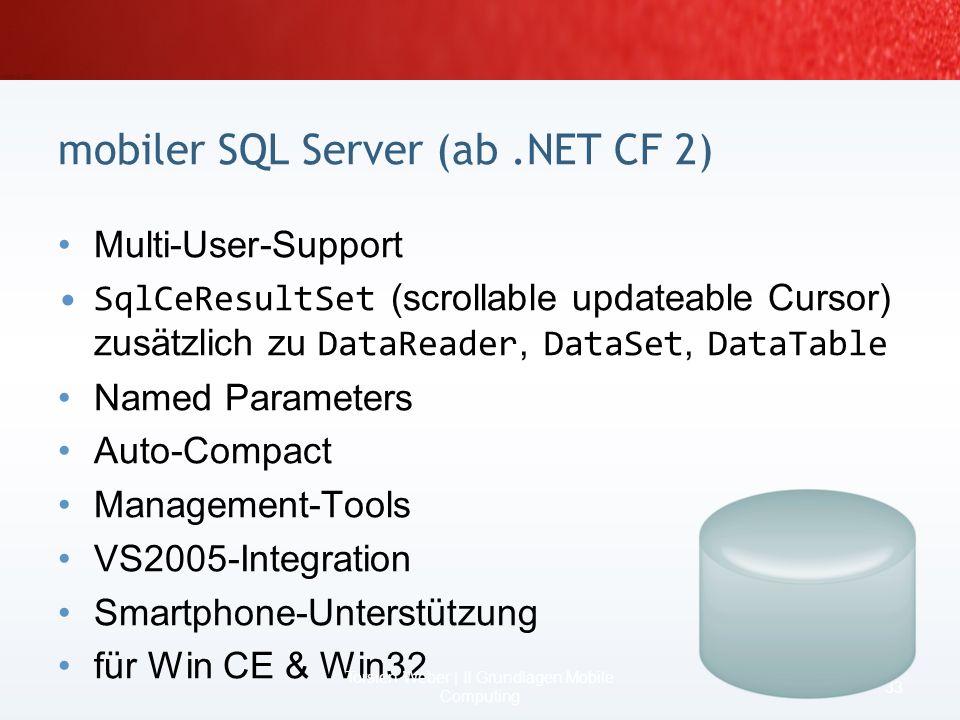 Die Entwicklung einer mobilen Anwendung 31 Torsten Weber | II Grundlagen Mobile Computing Windows.NET CF Desktop Version Visual Studio 2005 C# / VB.NE