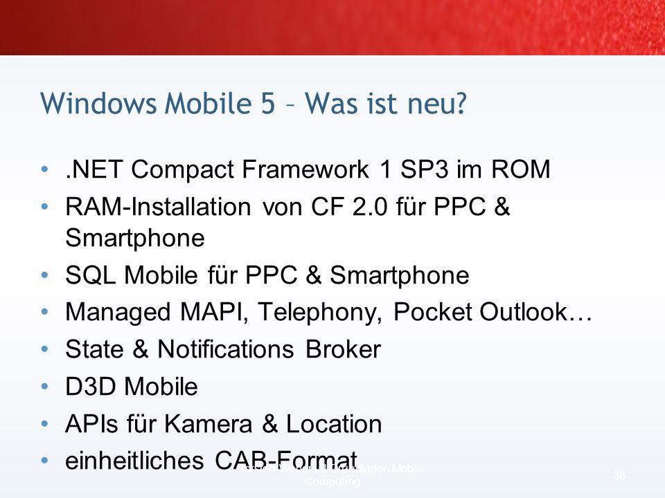 Szenario DataSet 34 Torsten Weber | II Grundlagen Mobile Computing Code / RAMDateisystem / RAM if (Person.New) { datamodel.Update(); …