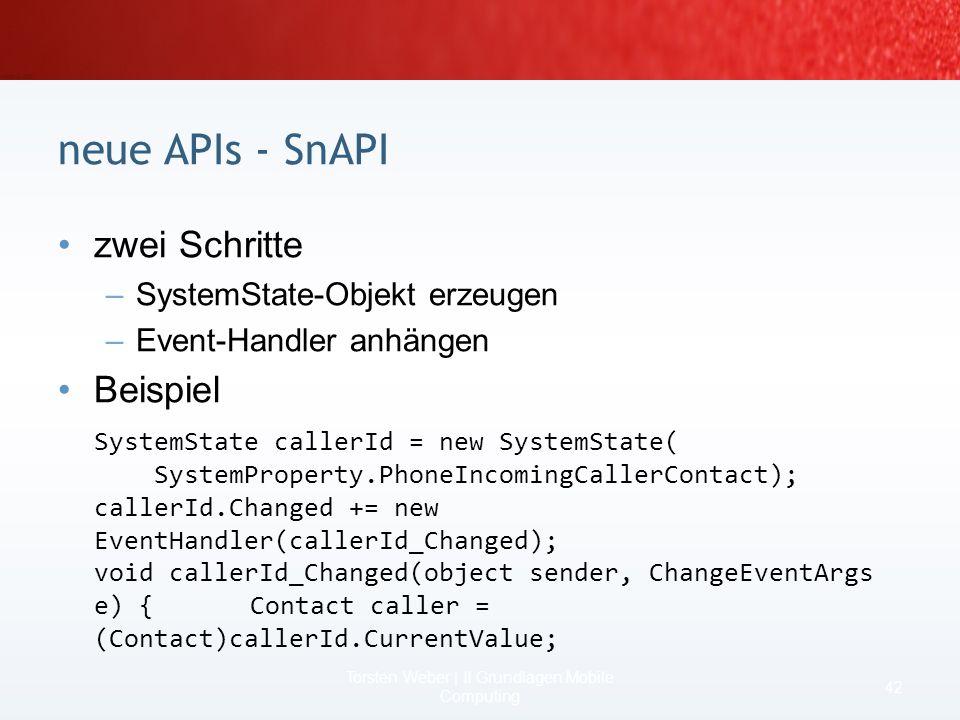 State & Notifications API einheitliches API zwecks Benachrichtigung,