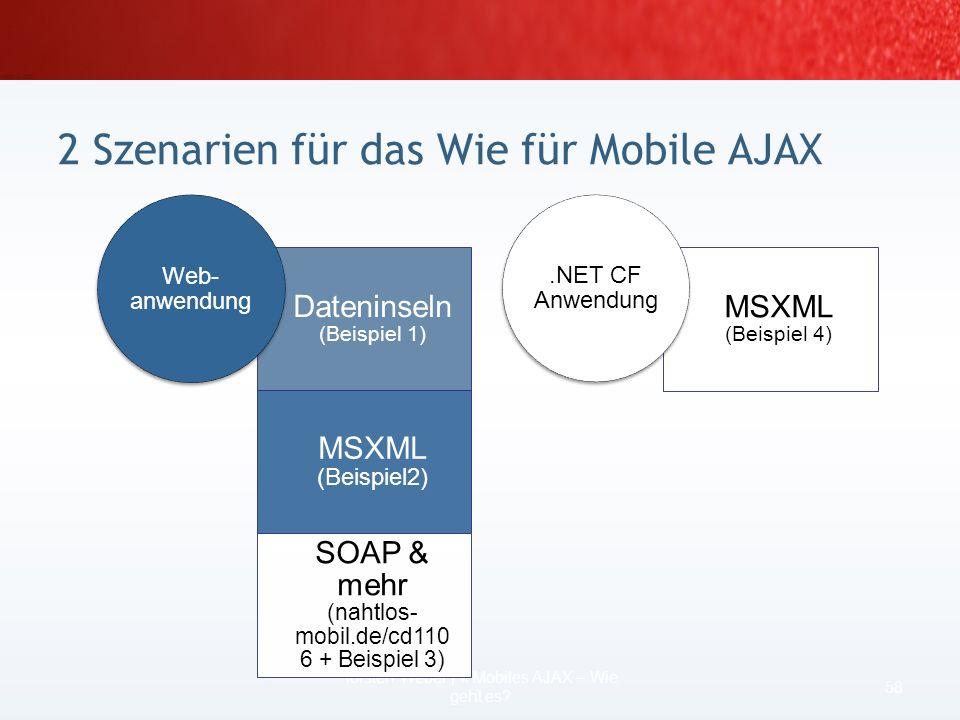 Beispiel für eine XML-Dateninsel: … … Szenario Webanwendung mit AJAX Lösung 1: Dateninseln 56 Torsten Weber | II Mobiles AJAX – Wie geht es? DEMO CODE