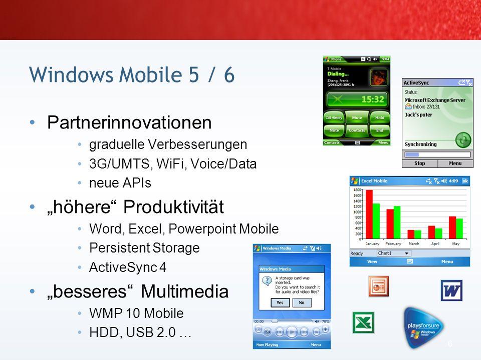 Windows Mobile ist ein Markenname von Microsoft Die mobilen Betriebssysteme 4