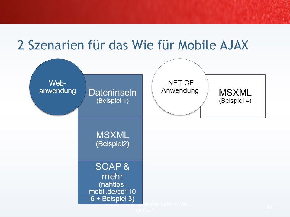 erlaubt asynchrones Laden von Dateien per HTTP-GET… mit Hilfe von Msxml2.XMLHTTP eventuell kombiniert mit dritter Lösung (Kontext) Szenario Webanwendu