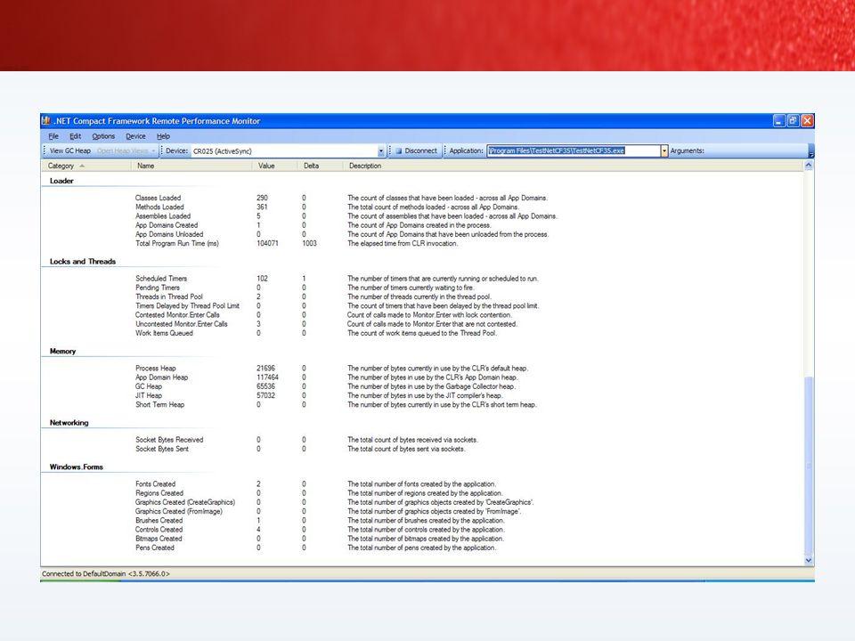 PerformanceCounter oder Power Toys verwenden Remote Performance Monitor and GC Heap Viewer NETCF CLR Profiler App Configuration Tool (NetCFcfg.exe) NE