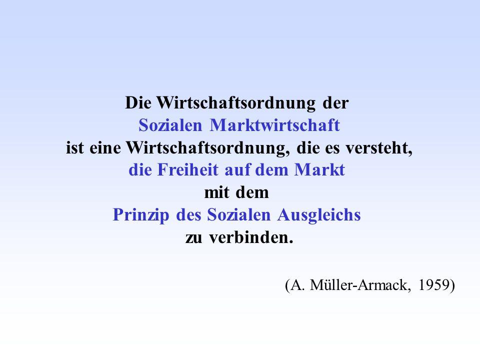 Die Wirtschaftsordnung der Sozialen Marktwirtschaft ist eine Wirtschaftsordnung, die es versteht, die Freiheit auf dem Markt mit dem Prinzip des Sozia