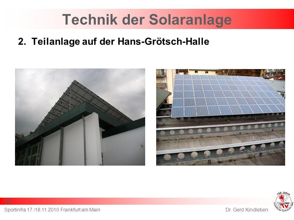 Technik der Solaranlage 2. Teilanlage auf der Hans-Grötsch-Halle Dr. Gerd KindlebenSportinfra 17./18.11.2010 Frankfurt am Main 10
