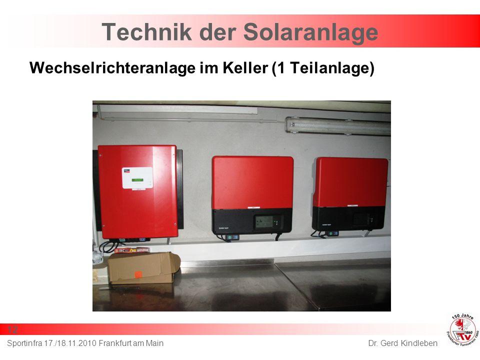 Technik der Solaranlage Wechselrichteranlage im Keller (1 Teilanlage) Dr. Gerd KindlebenSportinfra 17./18.11.2010 Frankfurt am Main 12