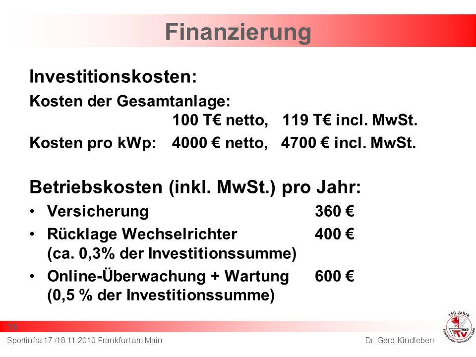 Finanzierung Investitionskosten: Kosten der Gesamtanlage: 100 T netto, 119 T incl. MwSt. Kosten pro kWp:4000 netto, 4700 incl. MwSt. Betriebskosten (i