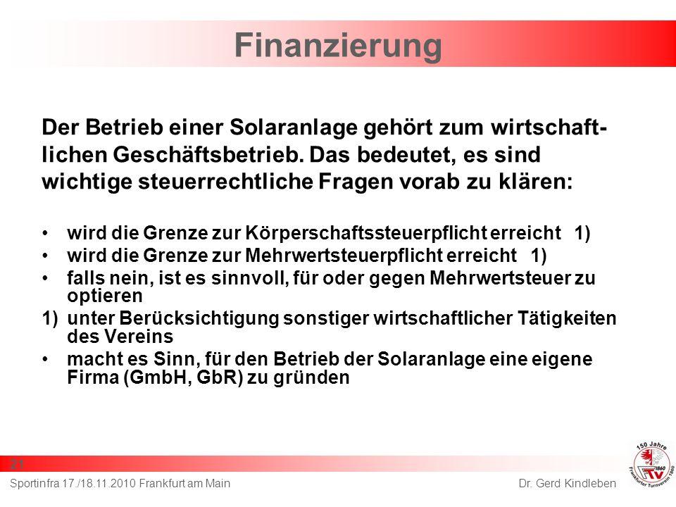 Finanzierung Der Betrieb einer Solaranlage gehört zum wirtschaft- lichen Geschäftsbetrieb.