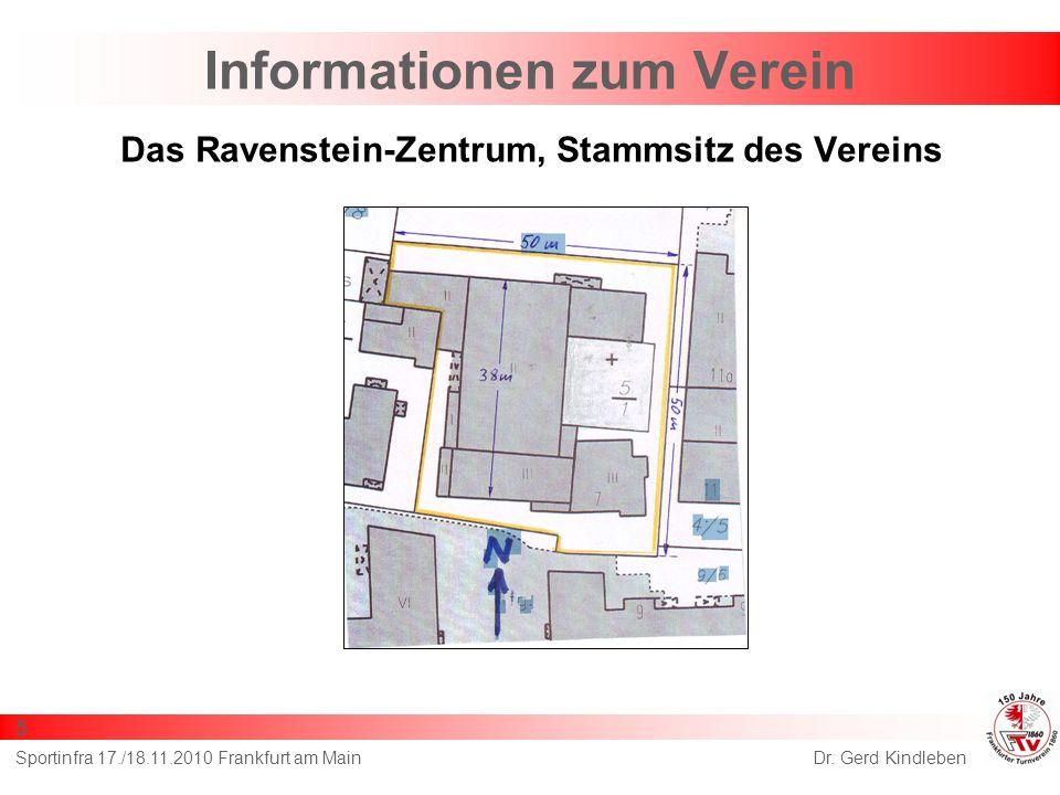 Das Ravenstein-Zentrum, Stammsitz des Vereins Dr. Gerd KindlebenSportinfra 17./18.11.2010 Frankfurt am Main 5 Informationen zum Verein