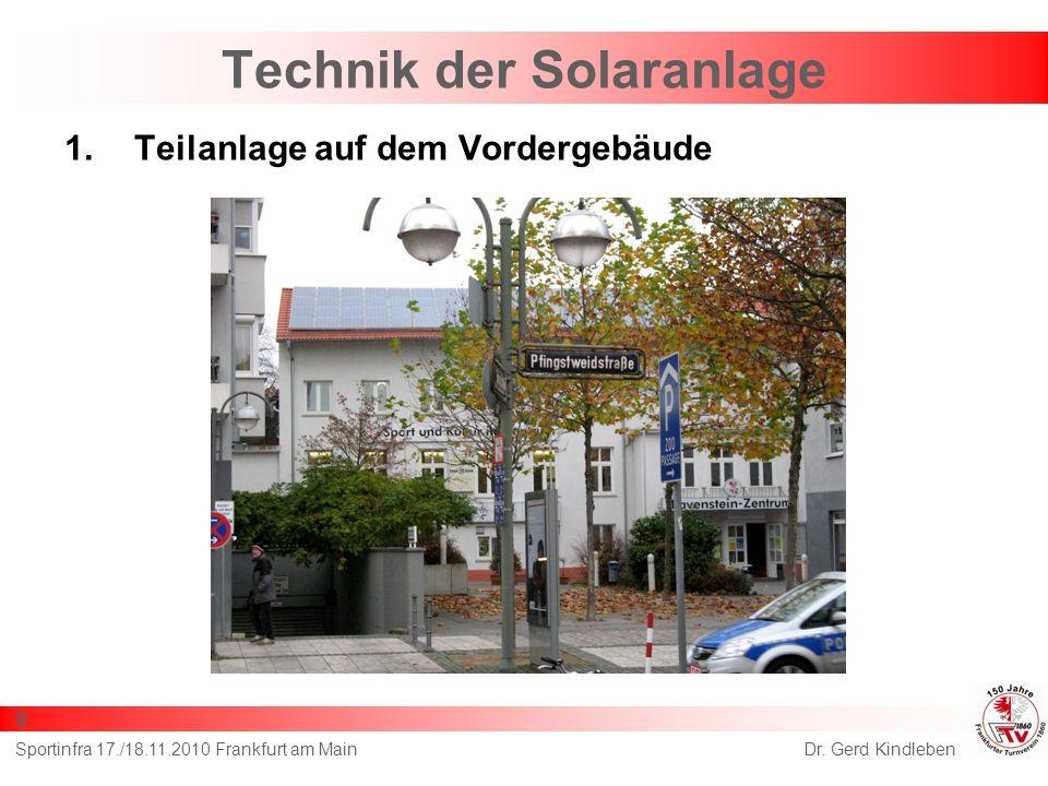 Technik der Solaranlage 1.Teilanlage auf dem Vordergebäude Dr. Gerd KindlebenSportinfra 17./18.11.2010 Frankfurt am Main 9