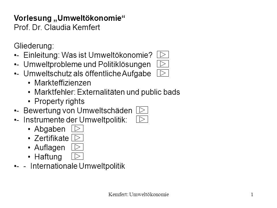 Kemfert: Umweltökonomie62 Nutzerabgaben: Gebühren für die Inanspruchnahme öffentlicher Entsorgungseinrichtungen, z.B.