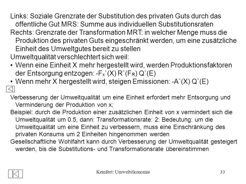 Kemfert: Umweltökonomie33 Links: Soziale Grenzrate der Substitution des privaten Guts durch das öffentliche Gut MRS: Summe aus individuellen Substitutionsraten Rechts: Grenzrate der Transformation MRT: in welcher Menge muss die Produktion des privaten Guts eingeschränkt werden, um eine zusätzliche Einheit des Umweltgutes bereit zu stellen Umweltqualität verschlechtert sich weil: Wenn eine Einheit X mehr hergestellt wird, werden Produktionsfaktoren der Entsorgung entzogen: -F x `(X) R`(F R ) Q`(E) Wenn mehr X hergestellt wird, steigen Emissionen: -A`(X) Q`(E) Verbesserung der Umweltqualität um eine Einheit erfordert mehr Entsorgung und Verminderung der Produktion von x; Beispiel: durch die Produktion einer zusätzlichen Einheit von x vermindert sich die Umweltqualität um 0.5, dann: Transformationsrate: 2: Bedeutung: um die Umweltqualität um eine Einheit zu verbessern, muss eine Einschränkung des privaten Konsums um 2 Einheiten hingenommen werden Gesellschaftliche Wohlfahrt kann durch Verbesserung der Umweltqualität gesteigert werden, bis die Substitutions- und Transformationsrate übereinstimmen