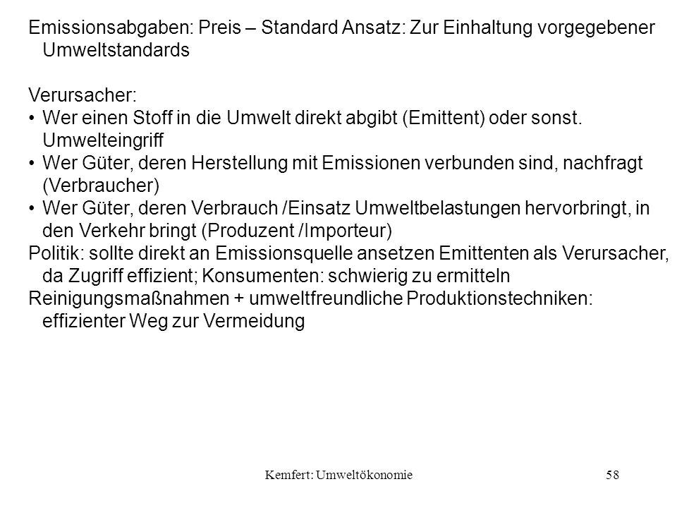 Kemfert: Umweltökonomie58 Emissionsabgaben: Preis – Standard Ansatz: Zur Einhaltung vorgegebener Umweltstandards Verursacher: Wer einen Stoff in die Umwelt direkt abgibt (Emittent) oder sonst.