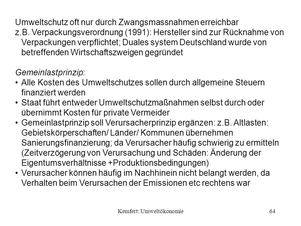 Kemfert: Umweltökonomie64 Umweltschutz oft nur durch Zwangsmassnahmen erreichbar z.B.