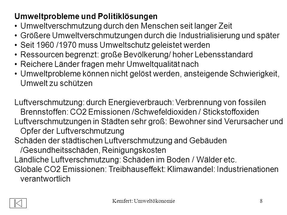 Kemfert: Umweltökonomie79 Beispiel: Ökosteuer: Senkung der Lohnnebenkosten durch eine ökologische Steuer- und Abgabenreform 1.