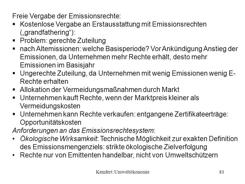 Kemfert: Umweltökonomie83 Freie Vergabe der Emissionsrechte: Kostenlose Vergabe an Erstausstattung mit Emissionsrechten (grandfathering): Problem: gerechte Zuteilung nach Altemissionen: welche Basisperiode.