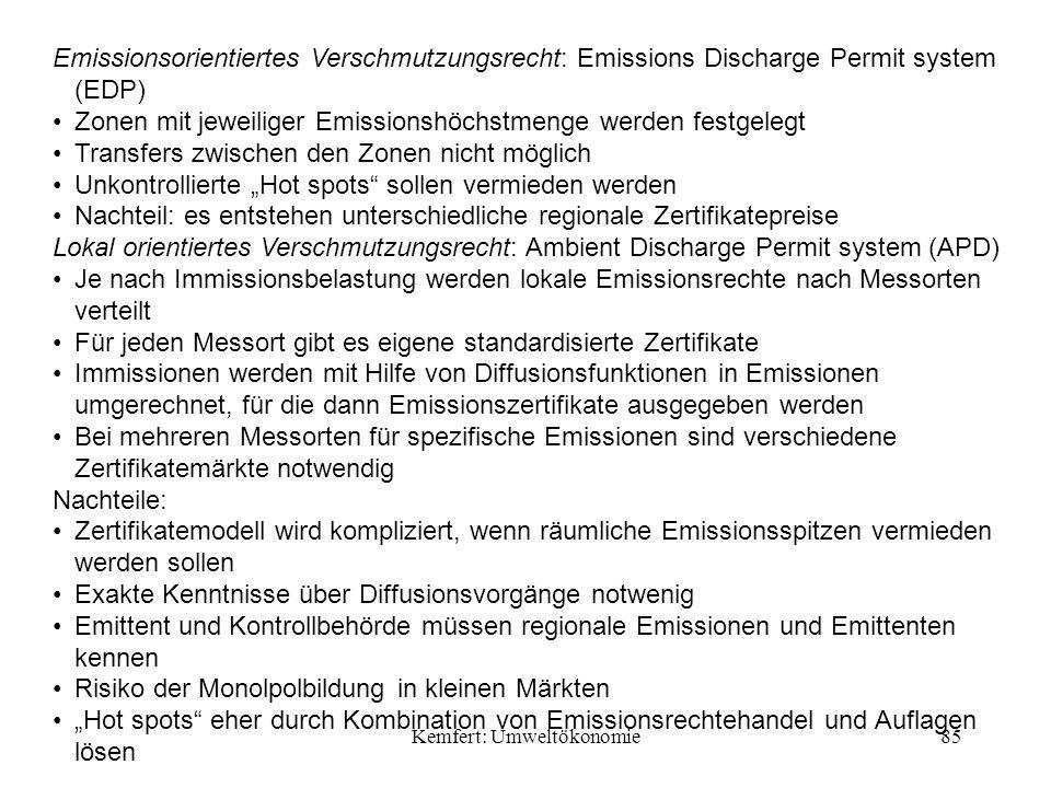 Kemfert: Umweltökonomie85 Emissionsorientiertes Verschmutzungsrecht: Emissions Discharge Permit system (EDP) Zonen mit jeweiliger Emissionshöchstmenge werden festgelegt Transfers zwischen den Zonen nicht möglich Unkontrollierte Hot spots sollen vermieden werden Nachteil: es entstehen unterschiedliche regionale Zertifikatepreise Lokal orientiertes Verschmutzungsrecht: Ambient Discharge Permit system (APD) Je nach Immissionsbelastung werden lokale Emissionsrechte nach Messorten verteilt Für jeden Messort gibt es eigene standardisierte Zertifikate Immissionen werden mit Hilfe von Diffusionsfunktionen in Emissionen umgerechnet, für die dann Emissionszertifikate ausgegeben werden Bei mehreren Messorten für spezifische Emissionen sind verschiedene Zertifikatemärkte notwendig Nachteile: Zertifikatemodell wird kompliziert, wenn räumliche Emissionsspitzen vermieden werden sollen Exakte Kenntnisse über Diffusionsvorgänge notwenig Emittent und Kontrollbehörde müssen regionale Emissionen und Emittenten kennen Risiko der Monolpolbildung in kleinen Märkten Hot spots eher durch Kombination von Emissionsrechtehandel und Auflagen lösen