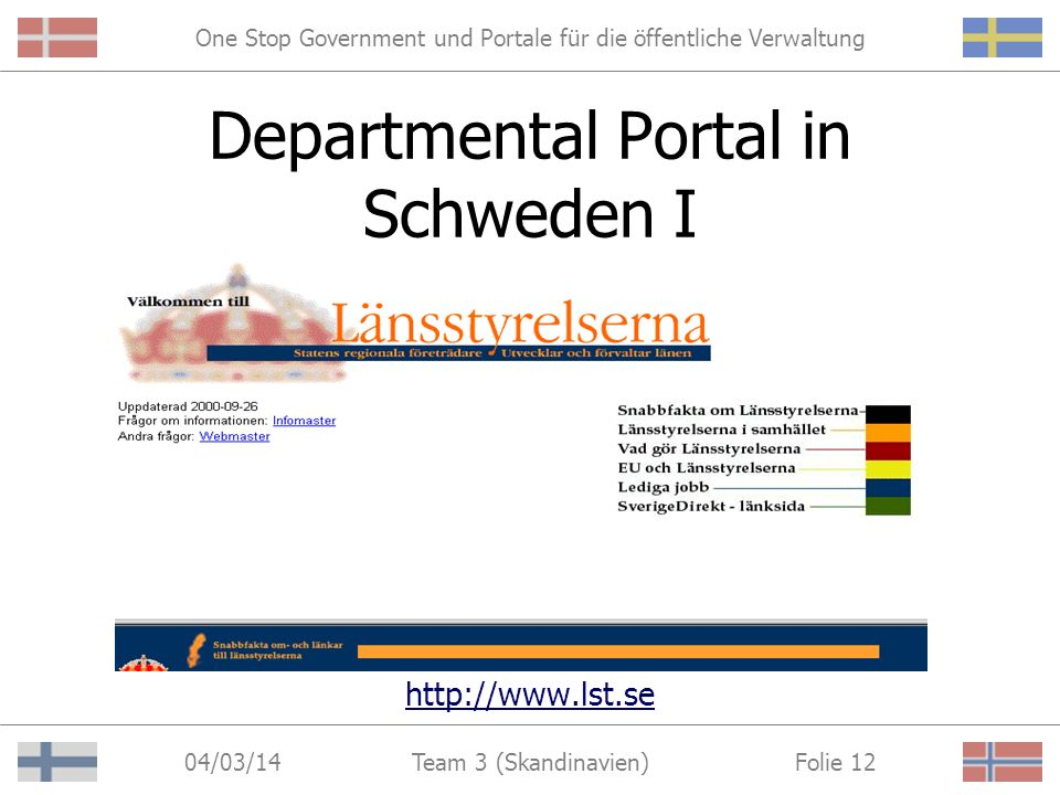 One Stop Government und Portale für die öffentliche Verwaltung 04/03/14 Folie 11Team 3 (Skandinavien) 2. Departmental Portale Angebote einer bestimmte