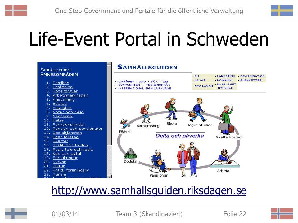 One Stop Government und Portale für die öffentliche Verwaltung 04/03/14 Folie 21Team 3 (Skandinavien) 3. Life-Event Portale Informationen zu allen Leb