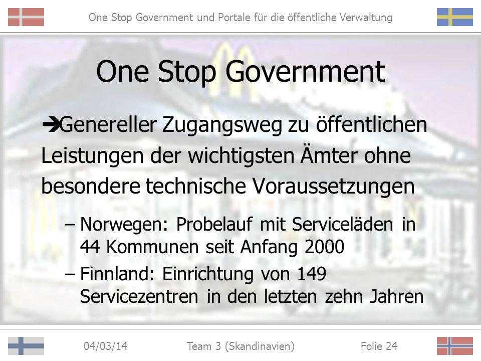 One Stop Government und Portale für die öffentliche Verwaltung 04/03/14 Folie 23Team 3 (Skandinavien) Life-Event Portal in Finnland http://www.opas.vn.fi