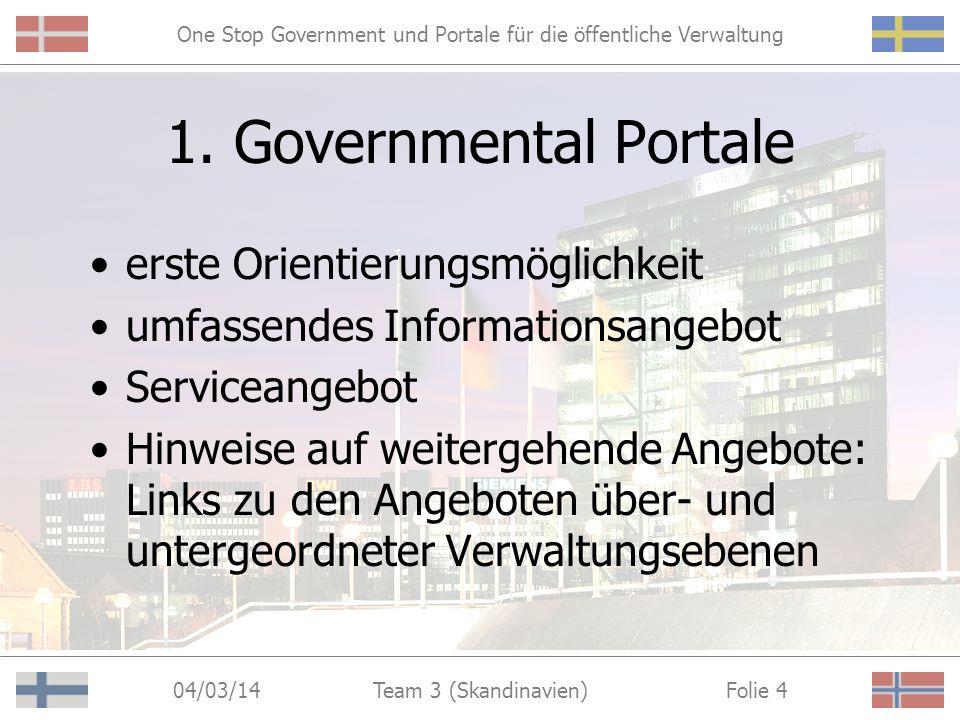 One Stop Government und Portale für die öffentliche Verwaltung 04/03/14 Folie 3Team 3 (Skandinavien) Ziele einfacher, bequemer Zugang zu relevanten In