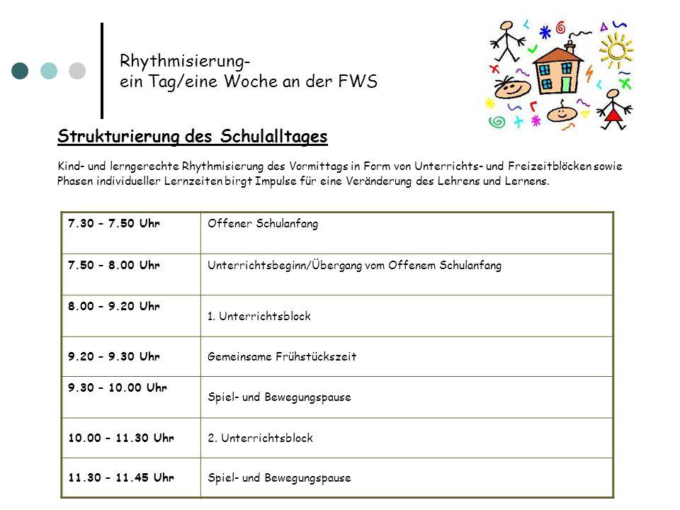 Rhythmisierung- ein Tag/eine Woche an der FWS Strukturierung des Schulalltages Kind- und lerngerechte Rhythmisierung des Vormittags in Form von Unterr