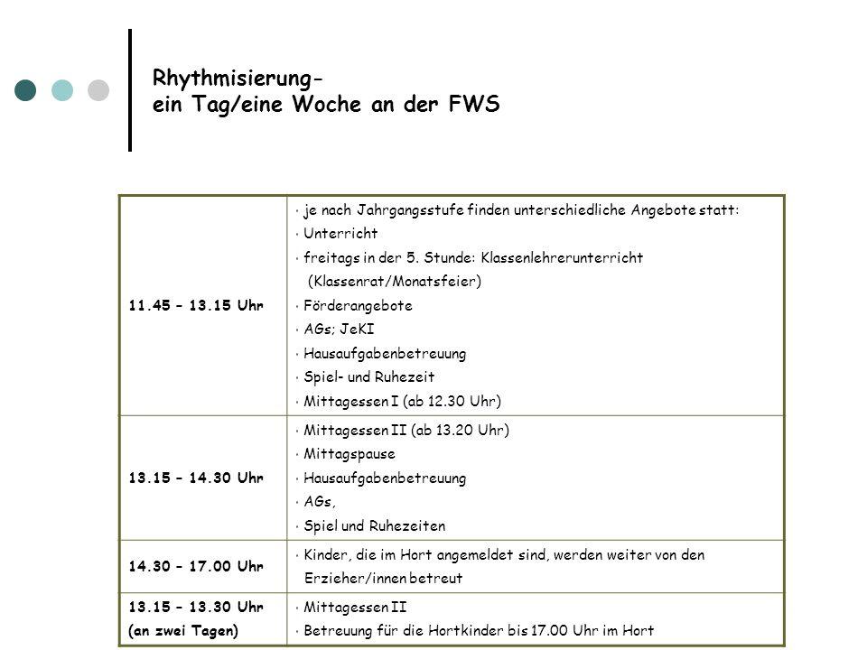 Rhythmisierung- ein Tag/eine Woche an der FWS 11.45 – 13.15 Uhr je nach Jahrgangsstufe finden unterschiedliche Angebote statt: Unterricht freitags in