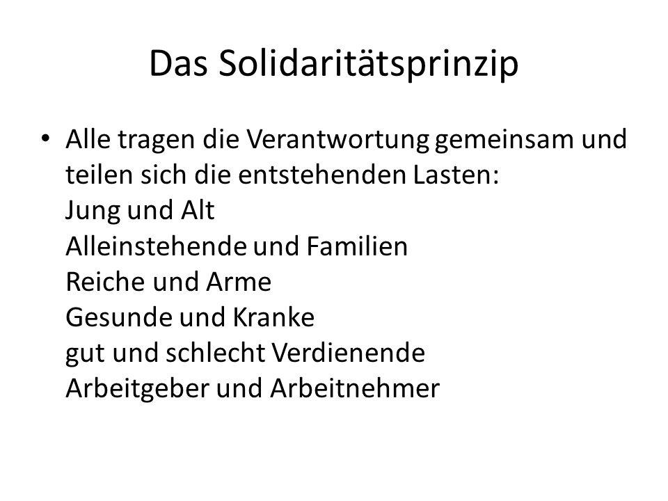 Das Solidaritätsprinzip Alle tragen die Verantwortung gemeinsam und teilen sich die entstehenden Lasten: Jung und Alt Alleinstehende und Familien Reic