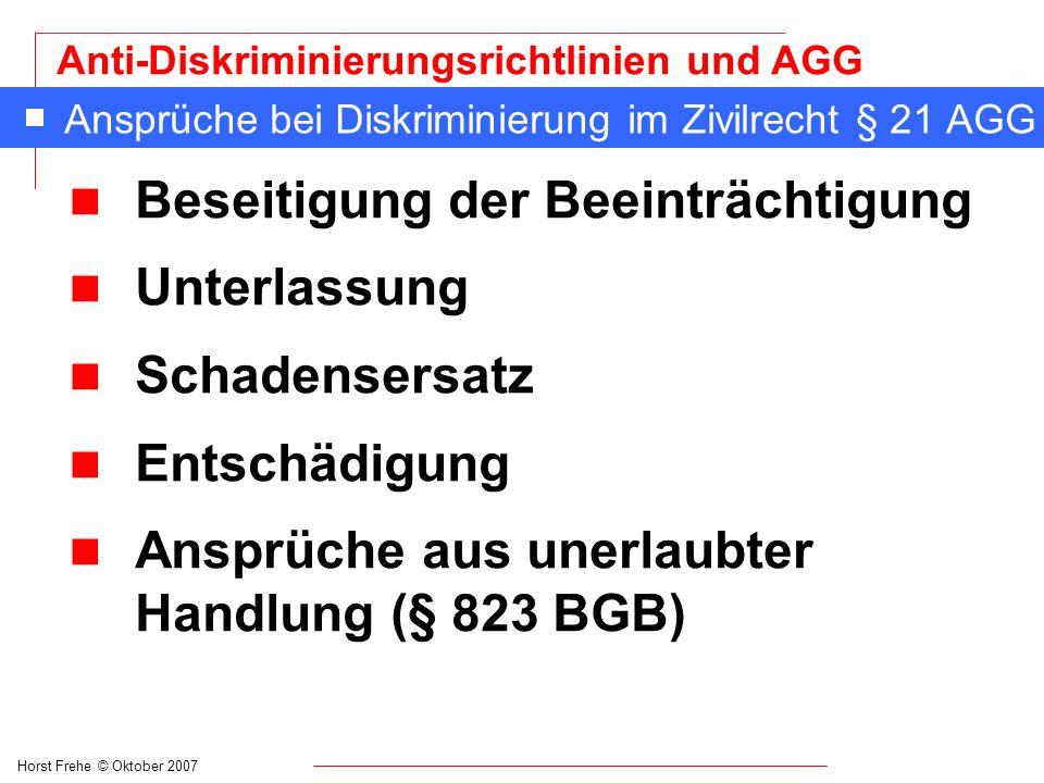 Horst Frehe © Oktober 2007 Anti-Diskriminierungsrichtlinien und AGG Ansprüche bei Diskriminierung im Zivilrecht § 21 AGG n Beseitigung der Beeinträcht