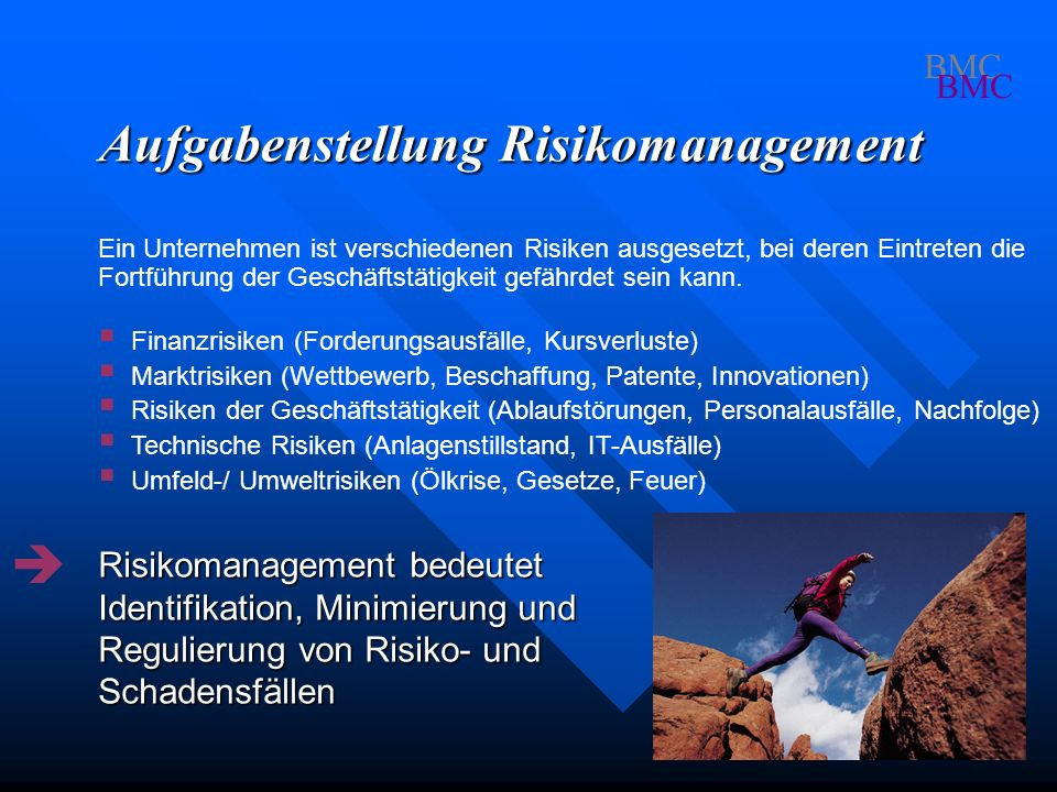 Themen des Risikomanagements BMC - Vermeidung von Schäden - Schadensminderung - Risikoüberwälzung - Versicherung bei Schäden - Notfallkonzepte Schadensfall gesetzl.