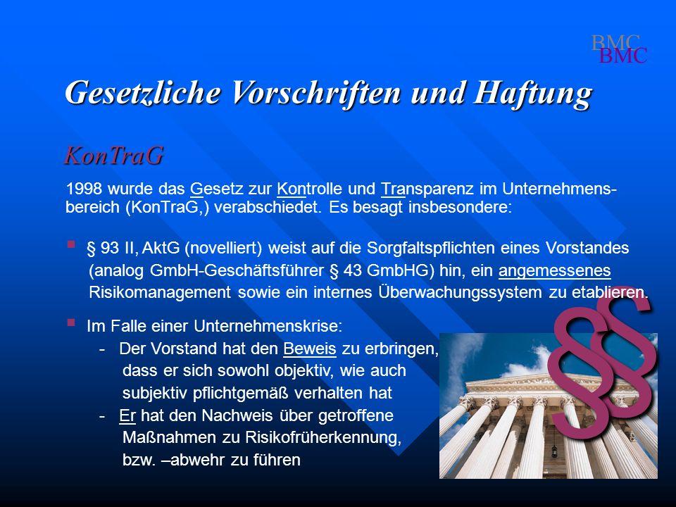 BMC Gesetzliche Vorschriften und Haftung KonTraG § § 1998 wurde das Gesetz zur Kontrolle und Transparenz im Unternehmens- bereich (KonTraG,) verabschi