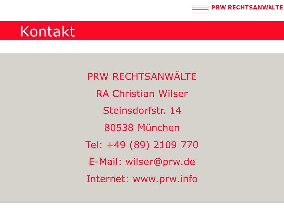 PRW RECHTSANW Ä LTE Kontakt PRW RECHTSANWÄLTE RA Christian Wilser Steinsdorfstr.
